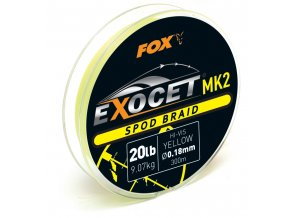 Fox Šňůra Exocet MK2 Spod Braid Yellow 0,18mm 20lb 300m