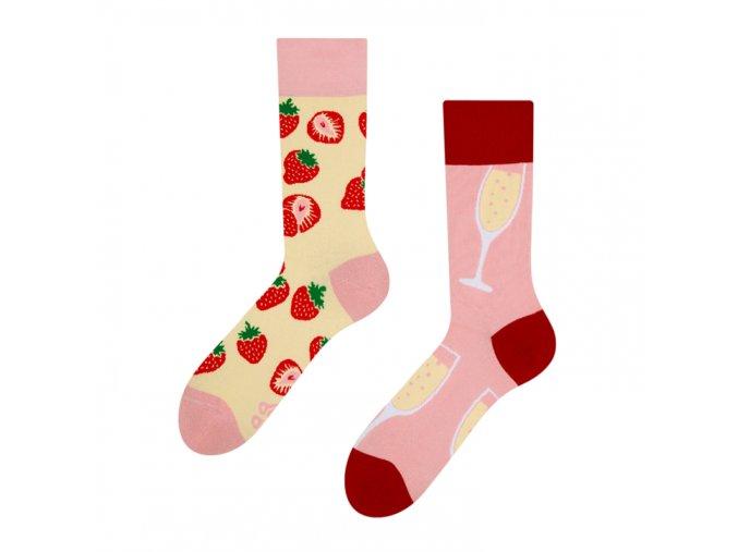 Veselé ponožky Šampanské s jahodami
