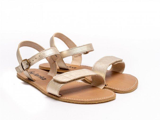 Stylové barefoot kožené sandálky Be Lenka Grace - Gold | Zelenáčky