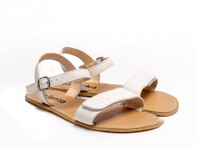 Stylové barefoot kožené sandálky Be Lenka Grace - White   Zelenáčky