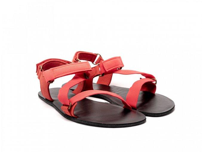 Stylové barefoot textilní sandály Be Lenka Flexi - Red | Zelenáčky