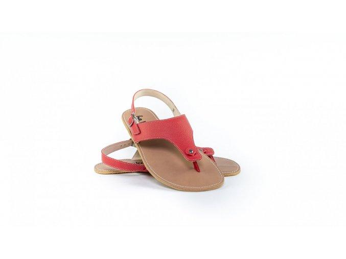 Barefoot kožené sandály Be Lenka Promenade - Red | Zelenáčky