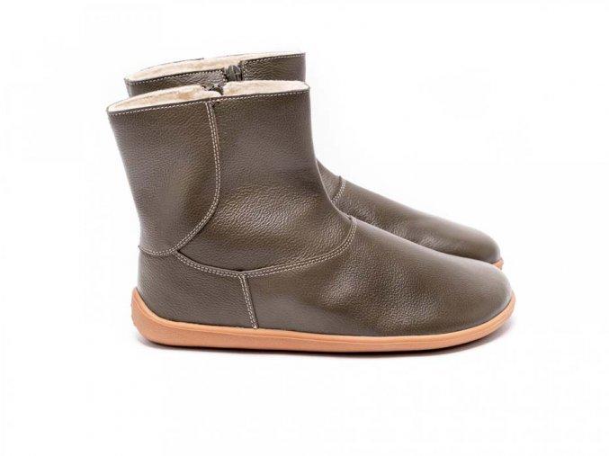 Barefoot kotníkové boty Be Lenka Polar – Olive Green | Zelenáčky
