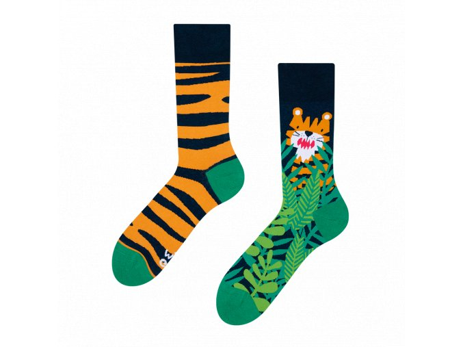 Veselé ponožky Tygr   Zelenáčky