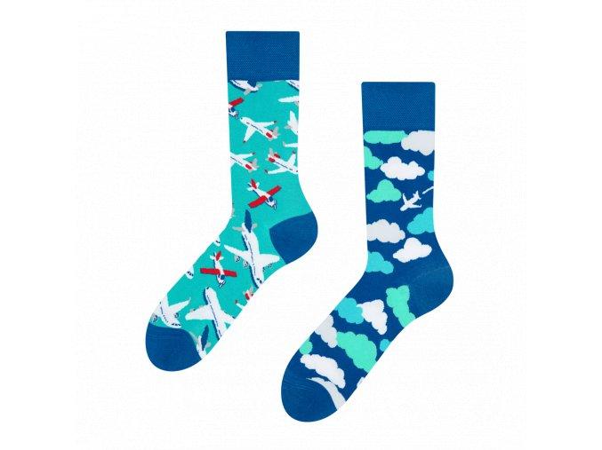 Veselé ponožky Letadla a oblaky