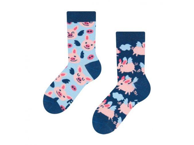Dětské veselé ponožky Létající prasátka | Zelenáčky