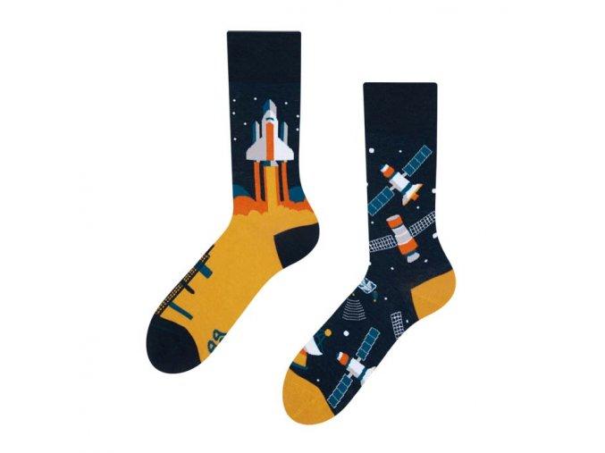 Veselé ponožky Vesmírná raketa   Zelenáčky