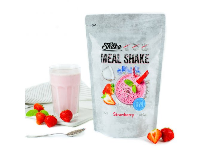 Chia Meal Shake fitness koktejl jahoda | Zelenáčky