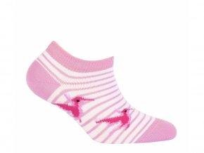 Dětské kotníkové ponožky Wola růžovo-bílé
