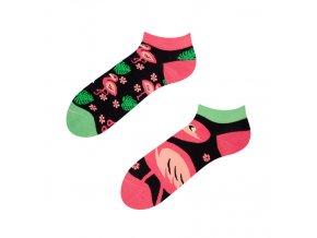 Kotníkové veselé ponožky Plameňáci | Zelenáčky