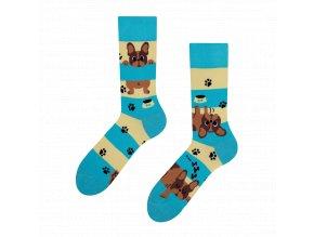 Veselé ponožky Psi a pruhy