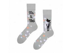 Veselé ponožky Svatební kočky | Zelenáčky
