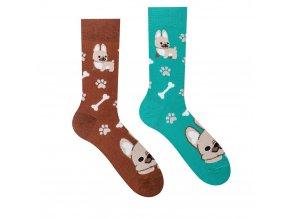 Veselé ponožky Buldog | Zelenáčky