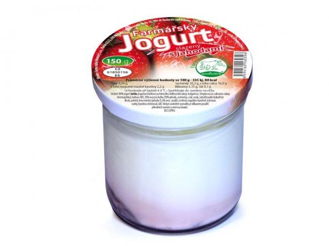 farmarsky jogurt s jahodami s ovocem 150 g ve skle vratny obal