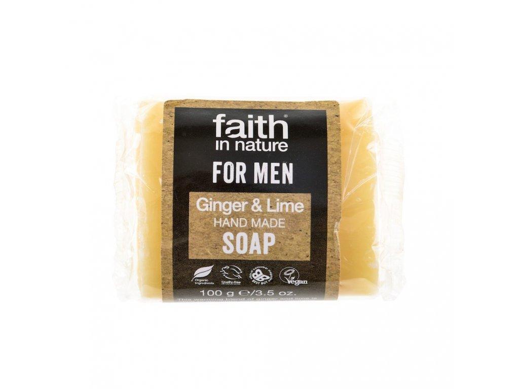 Tuhé mýdlo pro muže - zázvor & limeta