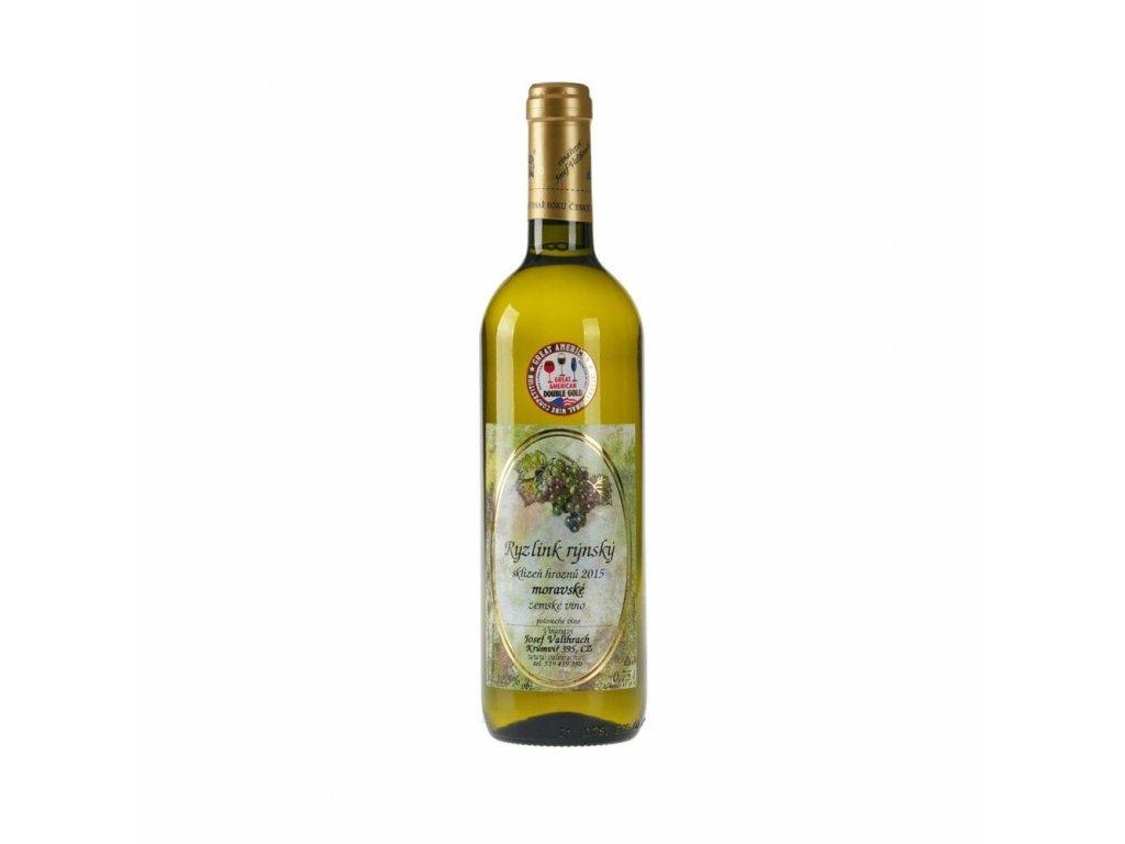 Ryzlink rýnský - zemské víno 2015  medaile Great America IWC 2017