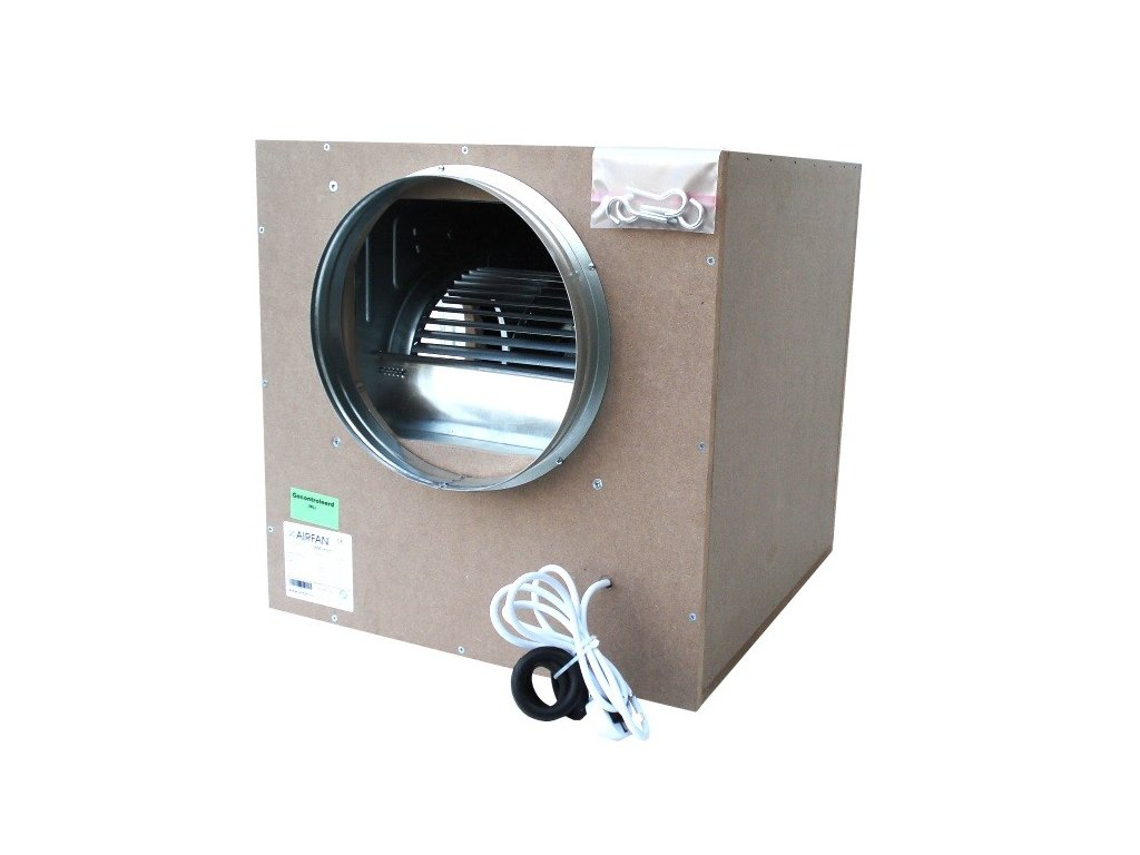 58118 airfan iso box 2500 m2 h odhlucneny ventilator vcetne prirub a haku k upevneni