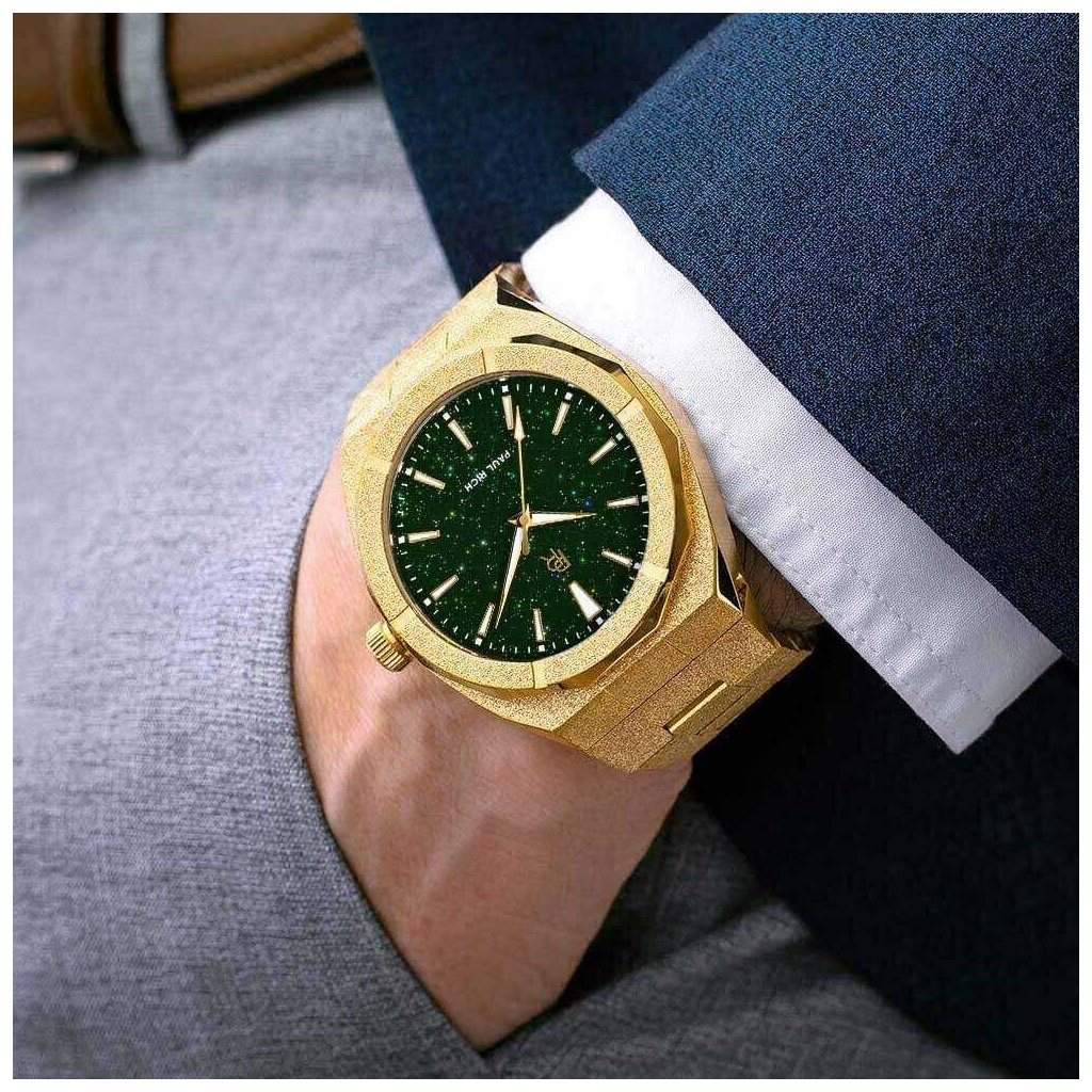 Herrengolduhr Paul Rich mit Stahlarmband Frosted Star Dust - Gold Green 45MM
