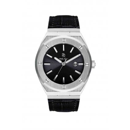 Herrenuhr Paul Rich in Silber mit Lederarmband Carbon - Leather 45MM