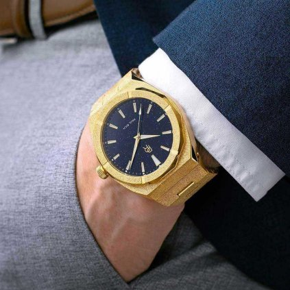 Herrengolduhr Paul Rich mit Stahlarmband Frosted Star Dust - Gold 42MM