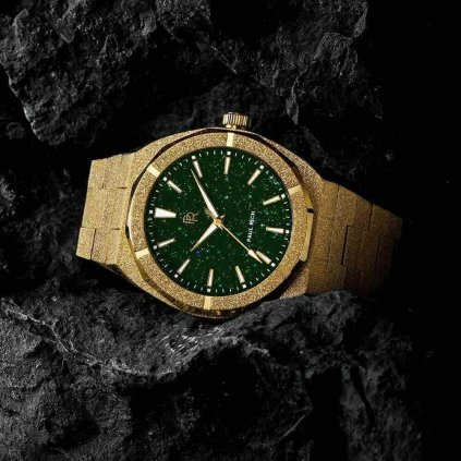 Herrengolduhr Paul Rich mit Stahlarmband Frosted Star Dust - Gold Green 42MM