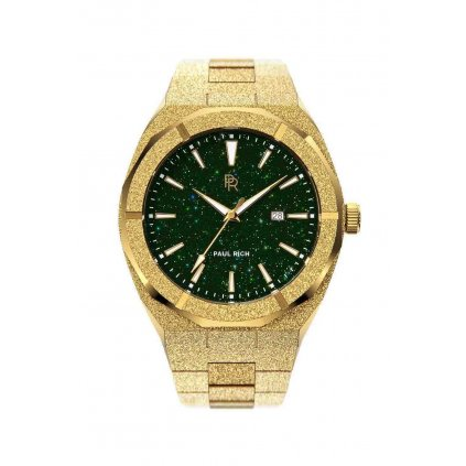 Herrengolduhr Paul Rich mit Stahlarmband Star Dust Frosted - Gold Green Automatic 45MM