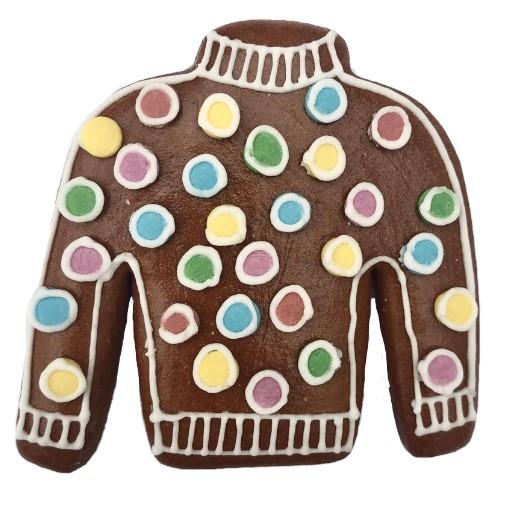 Perníčkový svetr s puntíky