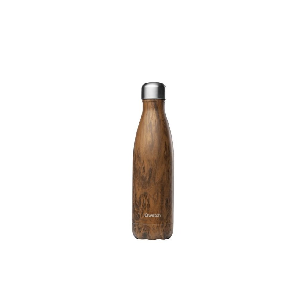 Qwetch, Nerezová termo láhev - Wood, 500 ml