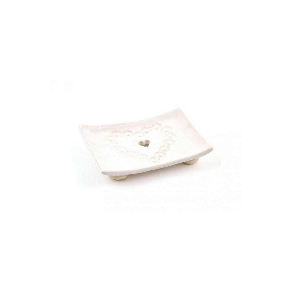 MusK, Keramická mýdlenka - bílé srdíčko