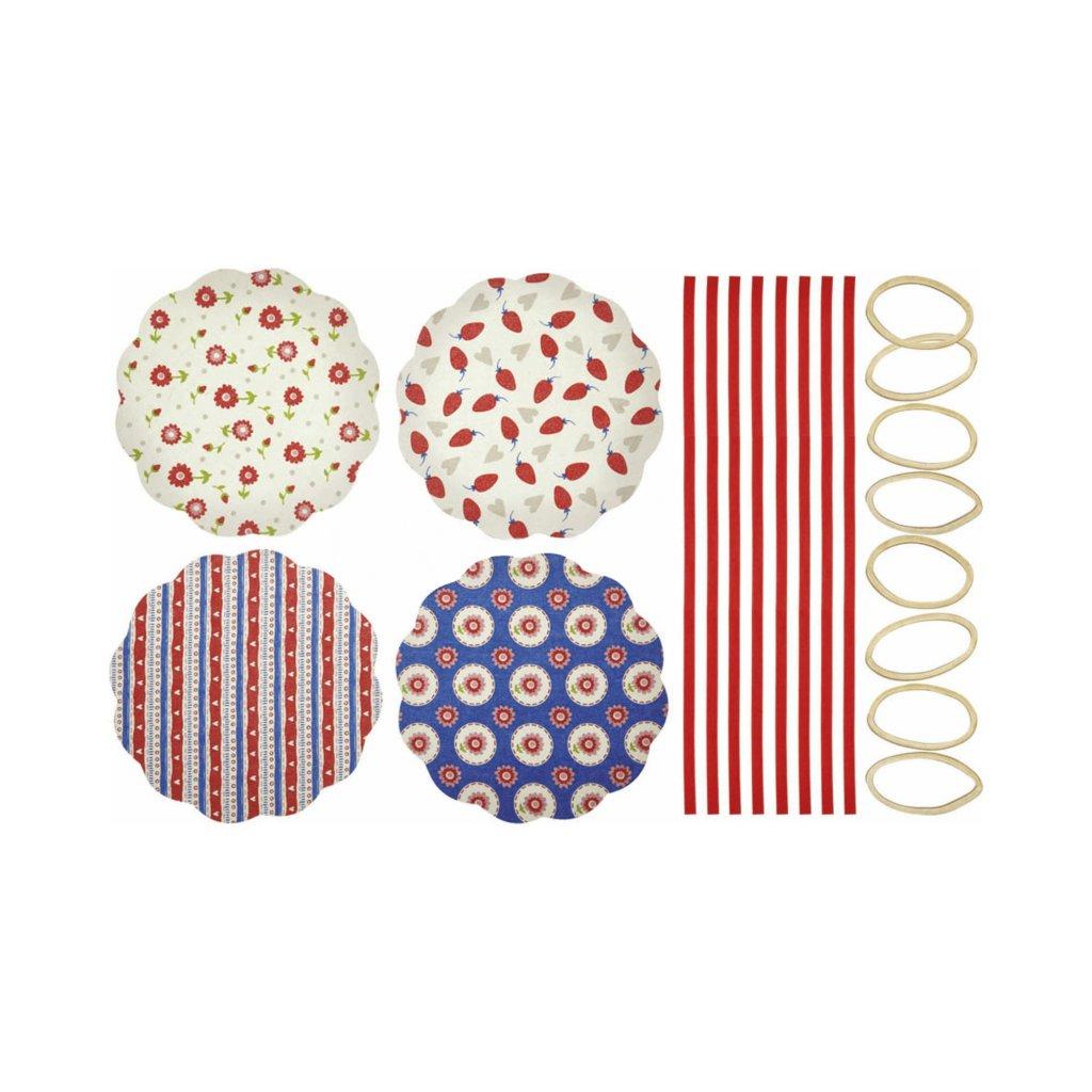 KitchenCraft, Kryt z tkaniny na zavařovačky 8 ks – srdce