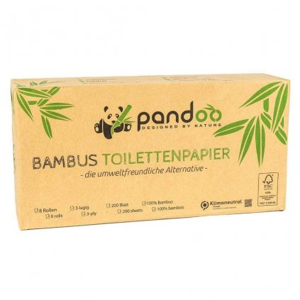 Pandoo, Bambusový toaletní papír - 3vrstvý, balení 8 ks