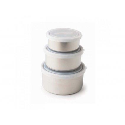 Nerezové nádoby - průsvitné víko, 3KS
