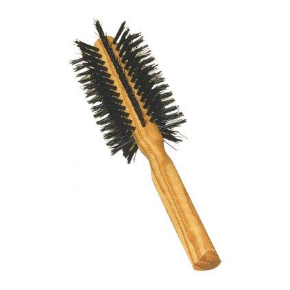 Kulatý kartáč na vlasy z olivového dřeva