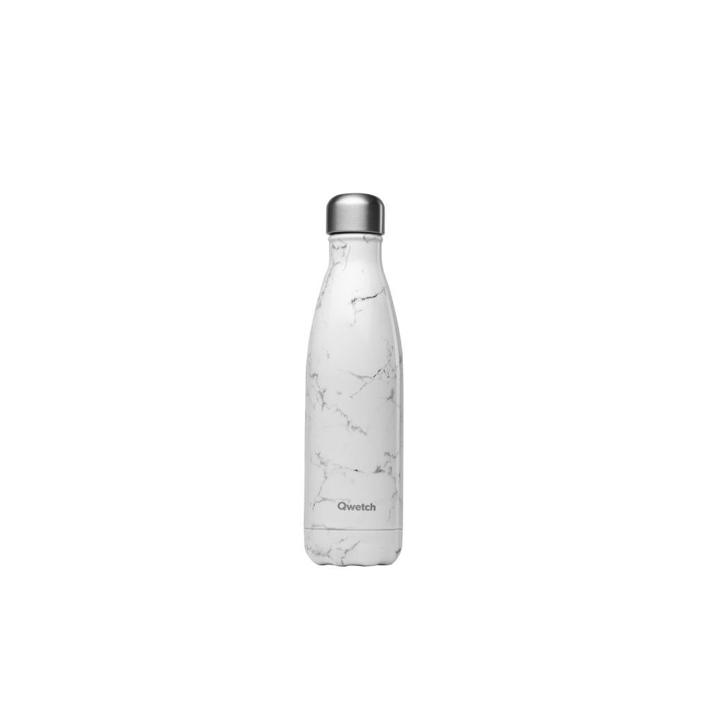 insulated stainless steel bottle marble white 500ml
