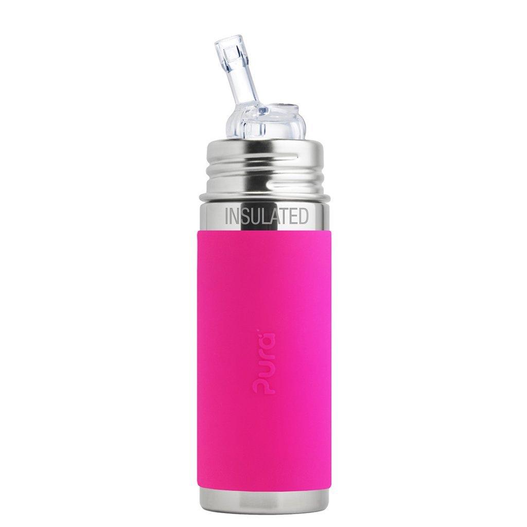 Pura, TERMO fľaša so slamkou 260ml, ružová