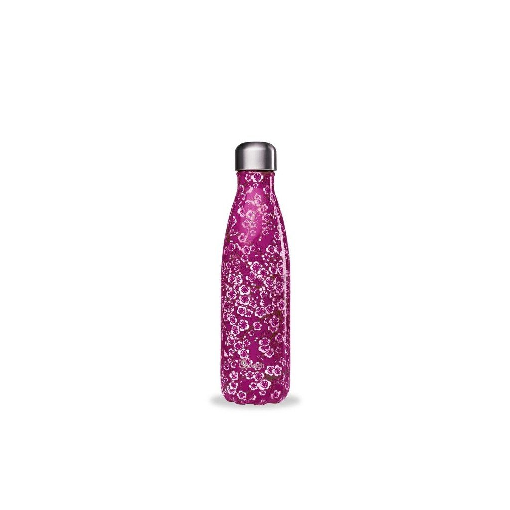insulated stainless steel bottle flowers pink 500ml