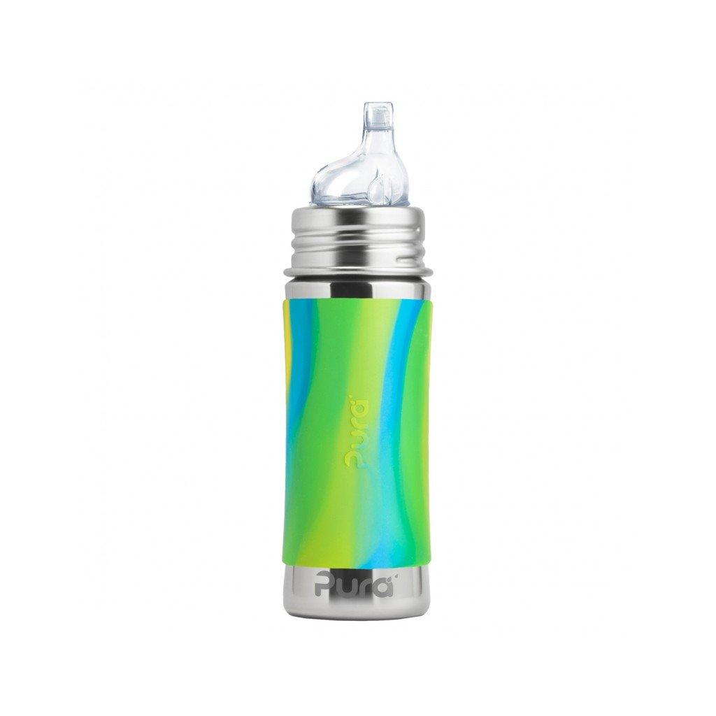 pura nerezova flasa s naustkom 325ml zelena aqua