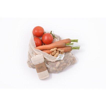 Tierra Verde, Sieťové vrecko z biobavlny na ovocie a zeleninu – stredné (38 × 30 cm)