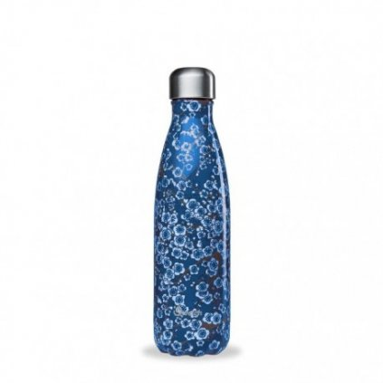 insulated stainless steel bottle flowers blue 500ml