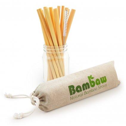 Bambusové slamky BAMBAW 13 cm, 12 ks