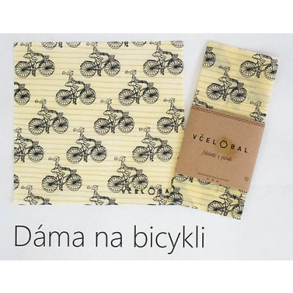 včelobal dama na bicykli