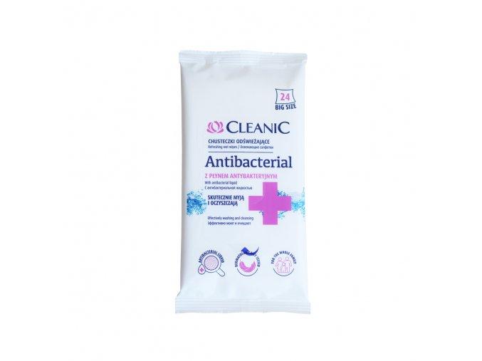 CLEANIC Antibakteriálne vlhčené obrúsky 24 ks