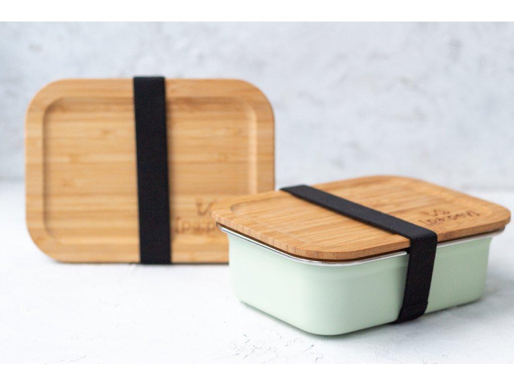 lunch box steel mint black straps bamboo top zerowastelife.cz