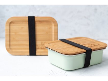 lunch box steel mint black straps bamboo top zerowastelife.cz