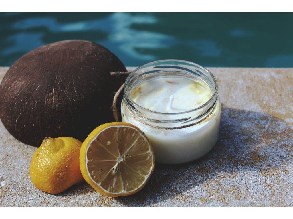 Sojová svíčka ve skle 200 ml   Kokos s citrónem
