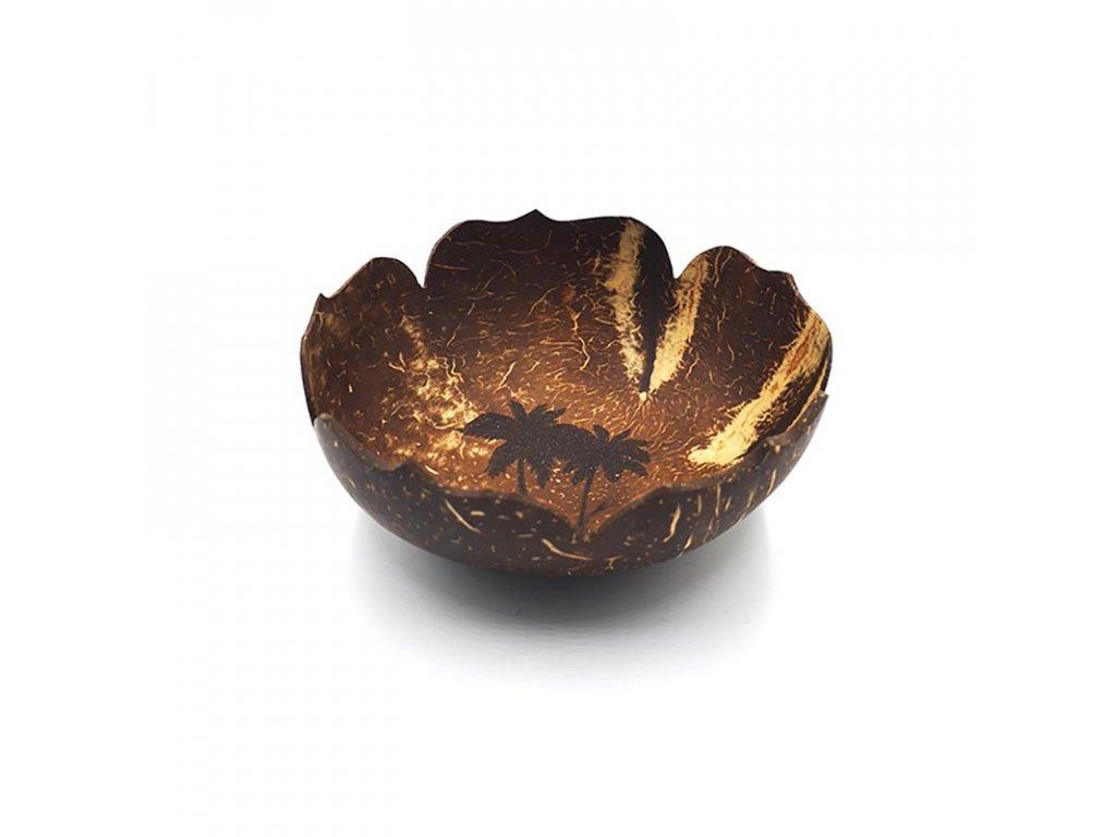 Kokosová miska vyřezávaná Flower