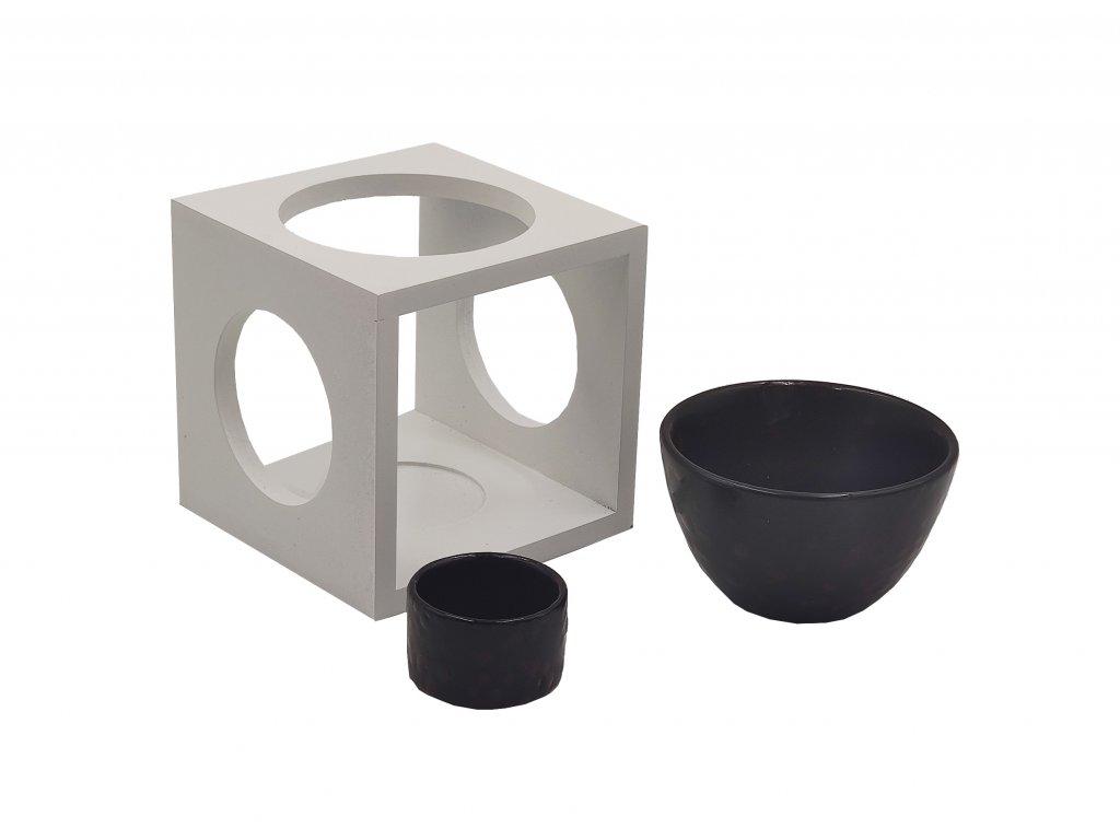 Aromalampa - dřevo a keramika   černá