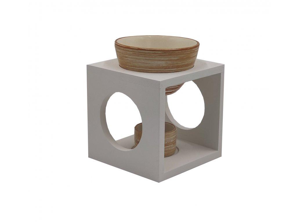 Aromalampa - dřevo a keramika | žíhaná