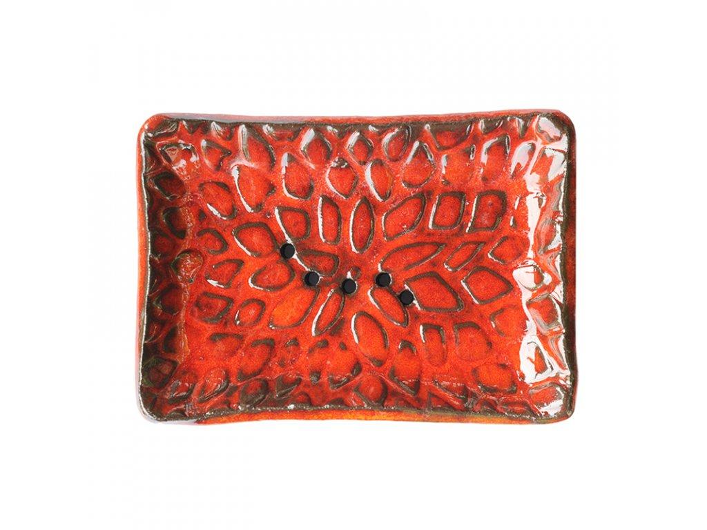 Keramická mýdlenka KAPKY | červená