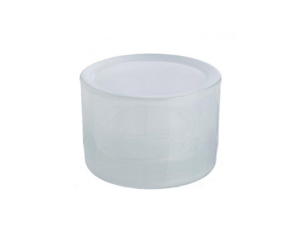 Svícen sklo 57x83mm bílý na mal./velkou čajovou svíčku